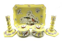 19th Century Berlin inkstand painted with panels of birds and insects on a yellow ground with inkwel
