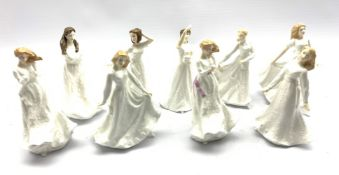 Nine Royal Doulton figures from the Sentiment series designed by A Maslankowski including Thank You,