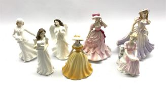 Three Royal Doulton figures Christmas Parcels, Christmas Angel and Skating, two Royal Worcester figu