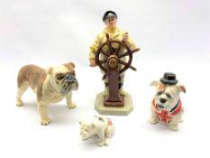 Beswick bulldog CH Basford British mascot, Royal Doulton figure The Helmsman, Manor Collectables Bul