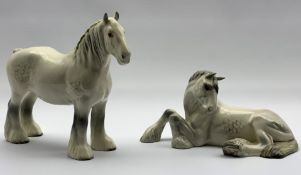 Beswick model of a grey Shire Mare (lying) No. 2459 and a grey Shire Mare No. 818