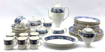 Wedgwood Blue Siam dinner, coffee and part tea service comprising six dinner plates, six side plates