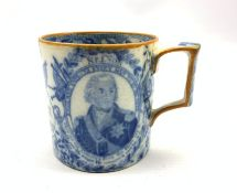 Early 19th Century transfer printed commemorative pottery 'Nelson' mug, possibly Swansea, printed in