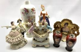 German porcelain group of three courtly figures H20cm, modern Dresden figure group, pair of small va