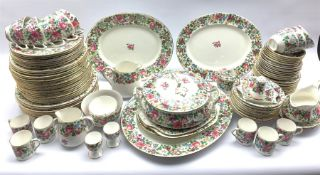 Crown Staffordshire 'Thousand Flowers' pattern dinner and part tea service