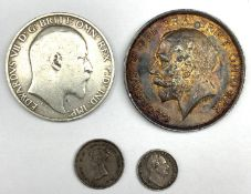 Queen Victoria 1839 maundy twopence, King William IV 1833maundy penny, King Edward VII standing Brit