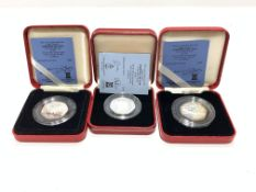 Queen Elizabeth II 1988, 1989 and 1992 Isle of Man silver proof Christmas fifty pence coins, all cas