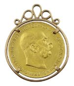 Austrian 1915 re-strike gold 100 corona coin, in a 9ct gold (tested) mount, total weight 41.2 grams