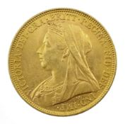 Queen Victoria 1899 gold full sovereign coin, Sydney Mint