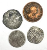 George III 1799 halfpenny, George I 1723 shilling (bent out of shape) and two hammered coins