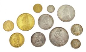 Queen Victoria, eleven coins all dated 1887, comprising gold five pounds, two pounds, sovereign and