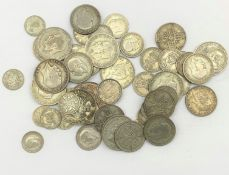 Approximately 400 grams of pre 1947 Great British silver coins including 1935 crown, half crowns etc