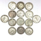 Fourteen pre 1920 Great British half crown coins, from the reigns of Queen Victoria, King Edward VII