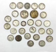Twenty-five pre 1920 Great British one shilling coins including Queen Victoria 1868 with die number