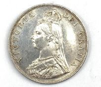 Queen Victoria 1888 double florin coin, Arabic 1 in date