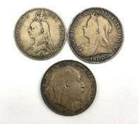 King Edward VII 1902 crown, Queen Victoria 1896 crown and 1889 double florin