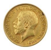 King George V 1911 gold half sovereign coin