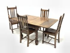 Early 20th century oak duo drawer leaf dining table, raised on spiral turned and block supports, (15