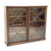 Edwardian mahogany Georgian style library bookcase enclosed by two astragal glazed sliding doors, si