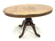 Victorian and later loo table, oval moulded top with box wood stringing and inlay, on later turned a