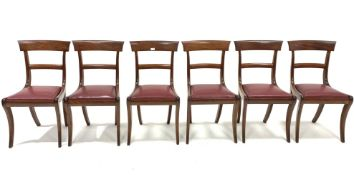 Set six late 19th century Regency style mahogany rail back dining chairs, with upholstered drop in s