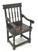 Late Victorian 17th century style armchair, turned spindle back with carved cresting rail, moulded p