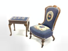 Victorian mahogany framed nursing chair, shaped cresting rail over needlework upholstered seat and b