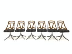 Grafton, Wisconsin - Circa 1960s set six dining chairs with brown Acrylic back rests, upholstered se