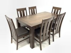Contemporary solid walnut dining table raised on block supports, (150cm x 90cm, H75cm) together with