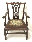Georgian style mahogany carver armchair, shaped cresting rail over a carved and pierced splat, scrol