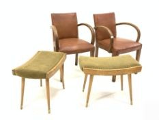 Pair of French 1930s Art Deco open armchairs, with bentwood arm rests, faux leather upholstered seat