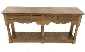 18th century style solid oak dresser, with two short and two longer drawers, shaped apron, turned an
