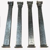 Set of four early 20th century oak architectural pillars, with acanthus leaf carved capitals over bo