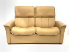 Stressless two seat sofa reclining sofa, upholstered in tan leather, W162cm