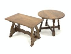 18th century style oak circular occasional table, raised on turned block supports united by 'X' stre