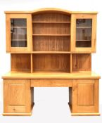 Lee Sinclair - a bespoke late 20th century solid elm dresser, arched top over two glazed doors each