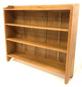 'Eagleman' oak open bookcase, with adzed and shaped panel end supports supporting three shelves, W12