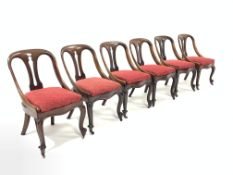 Set six Victorian mahogany dining chairs, pierced splats, drop in upholstered seat pads, raised on s