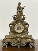 19th century French brass figural mantel clock, with integral key and later movement, W35cm
