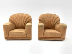 Pair of early 20th century art deco shell back armchairs, upholstered in salmon herringbone fabric,
