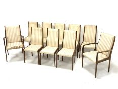 Set ten (8+2) 1970s teak framed dining chairs with upholstered seats and backs, eight side chairs an