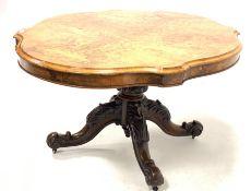 Victorian burr walnut loo table, the well figured quarter sawn veneered serpentine top raised on tur