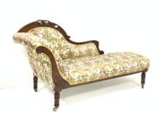 Late Victorian walnut chaise longue, with scroll ends and incised decoration, and carving to crest r