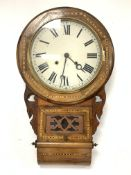Victorian inlaid walnut cased drop dial wall clock, white painted enamel dial with Roman numeral cha