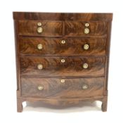 Early 19th century figured mahogany bow front Trafalgar chest of three long and two short drawers, w