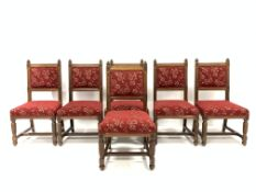 Set of six late Victorian oak Puginesque chairs, with carved and chamfered decoration, open back res