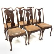 Set six queen Anne style mahogany dining chairs, with trophy shaped splats, drop in upholstered seat