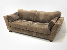 Barker and Stonehouse - three seat sofa, upholstered in brown fabric, (D96cm, W237cm)