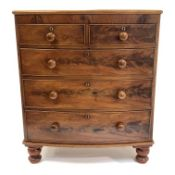 Victorian mahogany bow fronted chest fitted with two short and three long graduated drawers, raised