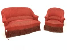 20th century French style upholstered two seat sofa (W123cm) together with a matching armchair (W72c